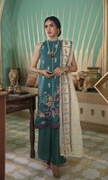 SHIRT (2.5M)  DYED EMBROIDERED FRONT AND SLEEVES  DIGITAL PRINTED BACK  TROUSER (2.5M)  DYED CAMBRIC TROUSER  DUPATTA (2.5M)  EMBROIDERED SQUARE NET DUPATTA