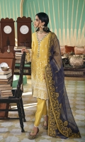 SHIRT (2.5M)  DYED EMBROIDERED FRONT AND SLEEVES  PASTE PRINTED BACK  TROUSER (2.5M)  DYED CAMBRIC TROUSER  DUPATTA (2.5M)  EMBROIDERED RAJJO NET DUPATTA