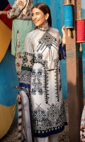 Unstitched 3 pc -  100% cotton lawn embroidered shirt front Digital printed back and sleeves Digital printed 100% pure crinkle chiffon dupatta 100% cotton cambric dyed trouser