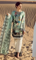 Digital printed 100% pima cotton lawn shirt Embroidered net dupatta Dyed cotton cambric trouser Embroidered motif for shirt neckline 1 pc