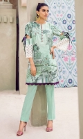 Digital printed 100% pima cotton lawn shirt Dyed cotton cambric trouser Embroidered patti for sleeves 1 pc