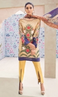 Digital printed 100% pima cotton lawn shirt Digital printed 100% pure crinkle chiffon dupatta Dyed cotton cambric trouser Embroidered patti for shirt hem 1 pc Embroidered motif for shirt hem 1 pc
