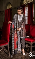 FLATBED PRINTED LINEN SHIRT  1 EMBROIDERED MOTIF FOR NECKLINE DYED LINEN TROUSER  DIGITAL PRINTED VISCOSE NET DUPATTA