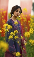 SHIRT (2.5M)  EMBROIDERED LAWN FRONT AND SLEEVES  PASTE PRINTED BACK  1 EMBROIDERED NECKLINE  EMBROIDERED PATTI FOR HEM  TROUSER (2.5M)  DYED CAMBRIC TROUSER  DUPATTA (2.5M)  EMBROIDERED RAJJO NET DUPATTA