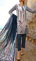 3.0 Meter Printed Cotton Shirt. 2.5 Meter Printed Lawn Dupatta. 2.5 Meter Dyed CottonTrouser.