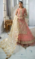 "Embroiderd handmade net front 26"" Embroiderd handmade front border 1 yard Embroiderd net back 1 yard Embroiderd net sleeve 26"" Embroiderd sleeve border 1 yard Foil print Duppata 2.5 yards Embroiderd net lehnga 108"" Lehnga slip 2.5 yards"
