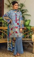 Shirt Front 1.25 Mtr Emb Shirt Back 1.25 Mtr Sleeves 0.5 Mtr Dupptta 2.5 Mtr Silk Digital Print Trouser 2.5 Mtr