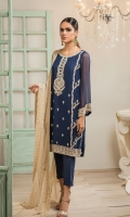 2pc ensemble kurta and dupatta sewed on fine chiffon with intricate thread work on shirt full front panel along with thread lace across dupatta border