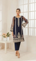 Blue embroidered kurta made on pure organza fabric