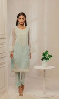 Sky blue embroidered kurta crafted on tissue fabric with floral motif detailing on shirt lower panel.