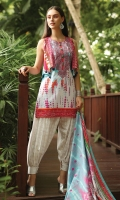 Printed Cambric Back 1.15M Printed Cambric Sleeves 0 65M Printed Lawn Dupatta 2.50M Printed Cambric Trouser 2.00M