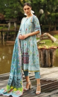 Embroidered Cambric Shirt 3.00M Printed Lawn Dupatta 2.50M Dyed Cambric Trouser 2.00M