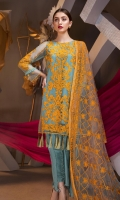 0.9 Mtr Net Embroidered Front 0.9 Mtr net Back 0.9 Mtr Net Embroidered Sleeves 2.5 mtr Chicken kari Dupatta 2.5 mtr Dyed Trouser 2 mtr Dyed Inner