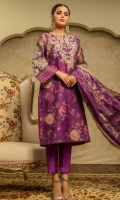 Embroidered Cotton Net Front 1.15M Printed Cotton Net Back 1.15M Embroidered Cotton Net Sleeves 0.65M Printed Broshia Net Dupatta 2.5M Dyed Viscose Trouser 2.5M Dyed Viscose Inner 2M