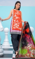 Embroidered Lawn Front 1.15 Mtr Printed Lawn Back 1.15 Mtr Printed Sleeves 0.65 Mtr Printed Silk Dupatta 2.5 Mtr Dyed Trouser 2 Mtr