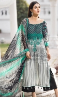 Embroidered Front 1.15Mtr Printed Back 1.15Mtr Embroidered Sleeves 0.65Mtr Printed Chiffon Dupatta 2.5Mtr Dyed Trouser 2Mtr