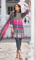 Printed Lawn Front 1.15Mtr Printed Lawn Back 1.15Mtr Printed Sleeves 0.65Mtr Printed Chiffon Dupatta 2.5Mtr Dyed Trouser 2Mtr Embroidered Tissue Border for Sleeves 1Mtr Embroidered Tissue Border for Neckline 1Mtr