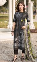 Printed Lawn Front 1.15Mtr Printed Lawn Back 1.15Mtr Printed Sleeves 0.65Mtr Printed Chiffon Dupatta 2.5Mtr Dyed Trouser 2Mtr