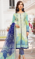 Embroidered Lawn Front 1.15Mtr Printed Lawn Back 1.15Mtr Printed Sleeves 0.65Mtr Printed Chiffon Dupatta 2.5Mtr Printed Trouser 2Mtr