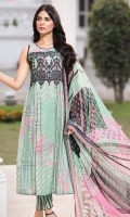 Embroidered Lawn Front 1.15Mtr Printed Lawn Back 1.15Mtr Printed Sleeves 0.65Mtr Printed Chiffon Dupatta 2.5Mtr Dyed Trouser 2Mtr