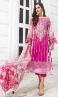 Embroidered Lawn Front 1.15Mtr Printed Lawn Back 1.15Mtr Printed Sleeves 0.65Mtr Printed Chiffon Dupatta 2.5Mtr Dyed Trouser 2Mtr Embroidered Tissue Border for Sleeves
