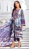Embroidered Lawn Front 1.15Mtr Printed Lawn Back 1.15Mtr Embroidered Sleeves 0.65Mtr Printed Chiffon Dupatta 2.5Mtr Dyed Trouser 2Mtr
