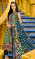 3 Meters Embroidered Shirt. 2.5 Meters Dyed Trouser. 2.5 Meters Printed Lawn Dupatta