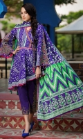 3 Meters Embroidered Shirt. 1.25 Meters Embroidered border. 2.5 Meters Embroidered Trouser  2.5 Meters Printed Lawn Dupatta
