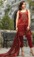 1.15M Embroidered Jacquard Front 1.15M Printed Jacquard Back 0.6M Printed Jacquard Sleeves 2.5M Printed Silk Dupatta 2.5M Dyed Trouser