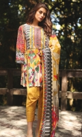 1.1 M Embroidered Front 1.1 M Printed Back 0.6M Printed Sleeves 2.5M Printed Dupatta 2.5M Dyed Trouser