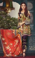 1.1m viscose embroidered front  1.1m viscose Printed back  0.6m viscose printed sleeves  2.5m viscose printed dupatta  2.5m viscose dyed trouser