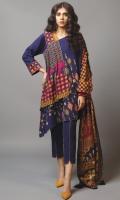 1.15 Meters Printed Khaddar Front,  1.15 Printed Khaddar Back,  0.6 Meter Printed Khaddar Sleeves,  2.5 Meters Printed Khaddar Dupatta,  2.5 Meters Dyed Khaddar Trouser.