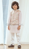 Waistcoat : Self Embroidered Jamawar Fabric Pants: Wash & wear fabric with straight cut pants Shirt : Cotton Textured Fabric