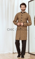 Cotton jersey fabric embellished with velvet embosed block print draped in sherwani cut kurta with black wash and wear fabric straight pants