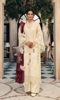 • Pure Lawn embroidered Front =1 Metre • Pure Lawn embroidered Back =1 Metre • Pure Lawn schiffli embroidered Sleeves = 0.65Metre • Dyed Cotton Trousers =2.5Metres • Pure Lawn Schiffli embroidered Neckline = 1 Piece • Organza Schiffli embroidered Border for Hem = 1Metre • Digital Printed Tissue Silk Dupatta = 2.5Metres