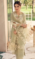 • Pure Lawn schiffli embroidered Front =0.75Metre • Pure Lawn embroidered Back =0.75Metre • Pure Lawn embroidered Sleeves =0.65Metre • Dyed Cotton Trousers = 2.5Metres • Organza embroidered Neckline = 1 piece • Organza embroidered Sleeves motifs = 4 • Organza embroidered Border for Hem = 1Metre • Net embroidered Dupatta with Pearls spray = 2.5Metres • Net embroidered Pallu Borders for Dupatta =2.25 Metres