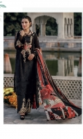 Embroidered Schiffli Lawn Front = 0.75 meter Embroidered Schiffli Lawn Back = 0.75 meter Embroidered Schiffli Lawn Sleeves = 0.65 meter Dye Cotton Trousers = 2.5 Meters Tissue Silk Digital Printed Dupatta = 2.5 meters Embroidered Organza Neckline = 1 piece 2 Embroidered Organza Patches For Sleeves 2 Embroidered Organza Patches For Trousers