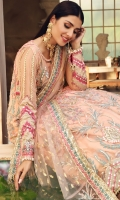 Embroidered Poly Net Front Yoke Hand Work, 01 Pc Embroidered Poly Net Back Yoke, 01 Pc Embroidered Poly Net Front & Back Panel, 12 Pcs Embroidered Poly Net Sleeve, 0.65 Mtr Embroidered Organza Sleeve Motives Hand Work, 01 Pair Solid Dyed Poly Net Screen Print Dupatta, 2.25 Mtr Embroidered Poly Net Dupatta Pallu, 01 Pair Embroidered Poly Net Dupatta Border, 05 Mtr Solid Dyed Thai Silk For Inner Shirt, 2.25 Mtr Solid Dyed Raw Silk For Trouser, 04 Mtr