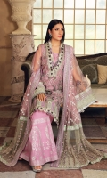 Embroidered Poly Net Hand Work Front, 0.66 Mtr Embroidered Poly Net Front Side Panel,. 0.33 Mtr Embroidered Poly Net Back, 0.85 Mtr Embroidered Poly Net Sleeve, 0.65 Mtr Embroidered Organza Panni Work Neck Line Patti, 01 Mtr Embroidered Silver Tissue Sleeve Patti, 01 Mtr Embroidered Raw Silk Sleeve Border, 01 Mtr Embroidered Raw Silk Sleeve Border, 01 Mtr Embroidered Organza Laser Work Front & Back Daman Border, 1.5 Mtr Embroidered Poly Net Dupatta, 2.25 Mtr Embroidered Poly Net Dupatta Pallu, 2 Mtr Embroidered Raw Silk Dupatta Pallu Patti, 4.5 Mtr Embroidered Raw Silk Dupatta Patti, 5 Mtr Solid Dyed Thai Silk For Inner Shirt, 2.25 Mtr Screen Print Raw Silk For Trouser Hem, 2.5 Mtr