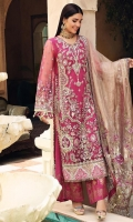 Embroidered Poly Net Hand Work Front, 0.66 Mtr Embroidered Poly Net Front Side Panel,. 0.33 Mtr Embroidered Poly Net Back, 0.85 Mtr Embroidered Poly Net Sleeve, 0.65 Mtr Embroidered Golden Tissue & Shamooz Silk Front & Back Laser Work Daman Border, 1.5 Mtr Embroidered Zari Net Dupatta, 2.5 Mtr Embroidered Golen Tissue Dupatta Patti, 7.5 Mtr Solid Dyed Thai Silk For Inner Shirt, 2.25 Mtr Screen Print Raw Silk For Trouser Hem, 2.5 Mtr