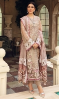 Embroidered Organza Hand Work Front, 0.66 Mtr Embroidered Organza Front Side Pannel, 0.33 Mtr Embroidered Organza Back, 1.15 Mtr Embroidered Organza Sleeve, 1.25 Mtr Embroidered Organza Hand Work Daman, 01 Pc Embroidered Organza Back Daman Border, 0.75 Mtr Embroidered Chiffon Dupatta, 2.25 Mtr Embroidered Shamooz Silk Dupatta Patti, 05 Mtr Embroidered Organza Dupatta Pallu Border, 2.25 Mtr Embroidered Organza Dupatta Pallu, 01 Pair Embroidered Organza Trouser Patti, 1.10 Mtr Solid Dyed Thai Silk For Inner Shirt, 2.25 Mtr Solid Dyed Raw Silk For Trouser, 2.5 Mtr
