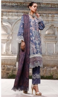 Sheesha Embroidered Self Linen Front 1.15 MTR  Embroidered Self Linen Back 1.15 MTR  Embroidered Self Linen Sleeves 0.65 MTR  Embroidered Border on Organza for hem 0.75 MTR  Embroidered Chevron Border on Organza 1 MTR  Viscos Jacquard Shawl 2.5 MTR  Dyed Linen Trousers 2.5 MTR