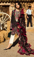 Embroidered Dupatta (Pure Organza) 2.50 Meters Embroidered Dupatta Border (Organza) 02 Pieces Embroidered Jacquard Shirt Front (Pima Lawn) 1.25 Meters Dyed Jacquard Shirt Back (Pima Lawn) 1.25 Meters Embroidered Jacquard Sleeves (Pima Lawn) 0.65 Meters Dyed Jacquard Trouser (Pima Cotton) 2.50 Meters Embroidered Neck Border (Organza) 01 Piece Embroidered Neckline (Satin Silk) 01 Piece Embroidered Front & Back Crew Neckline (Satin Silk) 02 Pieces Embroidered Jacquard Side Extensions (Pima Lawn) 02 Pieces Embroidered Hem Border (Organza) 01 Piece Embroidered Sleeves Border (Satin Silk) 1.40 Meters