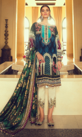 Digital Printed Silk Dupatta 2.50 m Digital Printed Grip Silk Shirt Front 1.33 m Digital Printed Grip Silk Shirt Back 1.33 m Digital Printed Grip Silk Sleeves 0.70m Embroidered Neckline 1 pc Embroidered Sleeve trims 1.05 m Embroidered Trouser Patch 1.32 m Dyed Raw Silk Trouser 2.50m