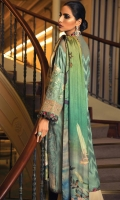 DIGITAL PRINTED DUPATTA (PURE SILK) 2.50 METERS EMBROIDERED SHIRT FRONT (COTTON NET) 1.30 METERS EMBROIDERED SHIRT BACK (COTTON NET) 1.30 METERS EMBROIDERED SLEEVES & SIDE EXTENSION (COTTON NET) 1.30 METERS EMBROIDERED RUNNING BORDER (SATIN SILK) 1.50 METERS EMBROIDERED HEM BORDER (ORGANZA) 1.80 METERS DYED SLIP (SILK) 2.00 METERS DYED TROUSER (COTTON) 2.50 METERS