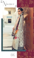 DIGITAL PRINTED DUPATTA (PURE SILK) 2.50 METERS EMBROIDERED SHIRT FRONT (POLY NET) 1.30 METERS EMBROIDERED SHIRT BACK & SIDE EXTENSION (POLY NET) 1.30 METERS EMBROIDERED SLEEVES (POLY NET) 0.60 METERS EMBROIDERED NECKLINE (SATIN SILK) 1 PIECE EMBROIDERED RUNNING BORDER (SATIN SILK) 1.50 METERS EMBROIDERED HEM BORDER (SATIN SILK) 0.90 METERS DYED SLIP (SILK) 2.00 METERS DYED TROUSER (RAW SILK) 2.50 METERS