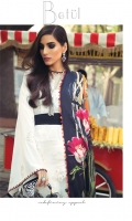 DIGITAL PRINTED DUPATTA (PURE SILK) 2.50 METERS  EMBROIDERED SHIRT FRONT (PIMA LAWN) 01 METER EMBROIDERED SHIRT BACK & SIDE EXTENSION (PIMA LAWN) 1.20 METERS EMBROIDERED SLEEVES (PIMA LAWN) 0.55 METERS EMBROIDERED SLEEVE & BACK BORDER (ORGANZA) 2.00 METERS EMBROIDERED FRONT HEM BORDER (ORGANZA) 1 PIECE EMBROIDERED RUNNING BORDER (ORGANZA) 2.40 METERS DYED SLIP (SILK) 2.00 METERS DYED TROUSER (COTTON) 2.50 METERS