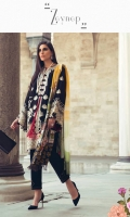 DIGITAL PRINTED DUPATTA (PURE SILK) 2.50 METERS EMBROIDERED SHIRT FRONT (COTTON NET) 0.95 METERS DYED SHIRT BACK (COTTON NET) 0.95 METERS EMBROIDERED SLEEVES & TWO RUNNING BORDERS (COTTON NET) 1.05 METERS EMBROIDERED SIDE EXTENSION (COTTON NET) 1 PIECE EMBROIDERED FRONT & BACK HEM BORDER (SATIN SILK) 1.80 METERS DYED SLIP (SILK) 2.00 METERS DYED TROUSER (COTTON) 2.50 METERS
