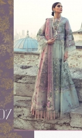 EMBROIDERED DUPATTA (POLY NET) 2.50 METERS EMBROIDERED DUPATTA BORDER (POLY NET) 2 PIECES EMBROIDERED SHIRT FRONT & BACK (PURE ORGANZA) 1.80 METERS EMBROIDERED SLEEVES & YOKE (PURE ORGANZA) 1.05 METERS EMBROIDERED HEM BORDERS (ORGANZA) 1.80 METERS EMBROIDERED NECK BORDER (ORGANZA) 1.50 METERS EMBROIDERED FRONT RUNNING BORDER (ORGANZA) 3.50 METERS DYED SLIP (SILK) 2.00 METERS DYED TROUSER (RAW SILK) 2.50 METERS