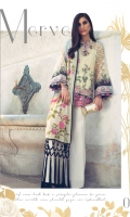 DIGITAL PRINTED DUPATTA (PURE SILK) 2.50 METERS EMBROIDERED SHIRT FRONT (POLY NET) 1.30 METERS EMBROIDERED SHIRT BACK (POLY NET) 1.30 METERS EMBROIDERED SLEEVES (POLY NET) 0.60 METERS EMBROIDERED NECKLINE (POLY NET) 1 PIECE EMBROIDERED RUNNING BORDER (POLY NET) 1.50 METERS EMBROIDERED SLEEVE BORDER (SATIN SILK) 2 PIECES EMBROIDERED HEM BORDER (SATIN SILK) 1.80 METERS DYED SLIP (SILK) 2.00 METERS DYED TROUSER (RAW SILK) 2.50 METERS